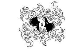 Ancient zodiac ornament of Gemini vector illustration