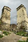 Ancieny-Dorf in oberem Svaneti Georgia Stockfotos