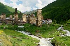 Ancieny-Dorf in oberem Svaneti, Georgia Lizenzfreies Stockbild