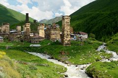 Ancieny village in Upper Svaneti, Georgia Royalty Free Stock Image