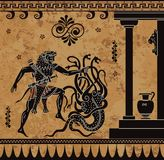 Anciet greek myth.Black figure pottery.Hercules heroic deed. Ancient myth,background for design Stock Illustration