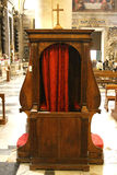 Ancinent confessional stall cell Royalty Free Stock Photo