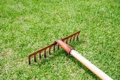 Ancinho que encontra-se na grama no campo de golfe Imagens de Stock
