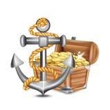 Ancla con el cofre del tesoro y las monedas de oro ilustración del vector