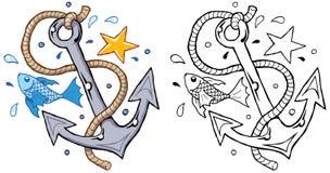 Ancla con el marinero de la estrella de las estrellas de mar de la cuerda de los pescados imagen de archivo