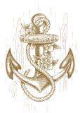 Ancla de mar con la cuerda y flores dibujadas a mano Imagen de archivo libre de regalías