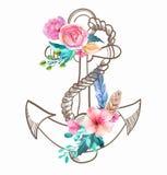 Ancla del garabato con las flores y la pluma de la acuarela ilustración del vector