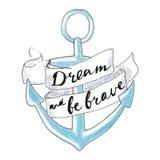 Ancla dibujada mano azul Símbolo del mar - ancla Imagen de archivo