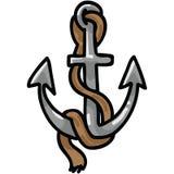 Ancla linda con el sistema del adorno del ejemplo del vector de la historieta de la cuerda Océano aislado exhausto de la mano que stock de ilustración