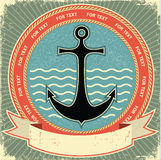 Ancla náutica. Escritura de la etiqueta de la vendimia Fotos de archivo