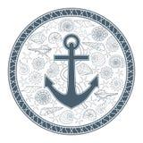 Ancla y conchas marinas Imágenes de archivo libres de regalías
