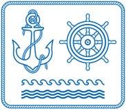 Ancla y timón. Diseños náuticos Fotografía de archivo libre de regalías
