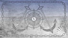 Ancle el volante del compás y de la nave en el tablero de madera Imagen de archivo