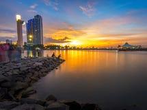 ancol Jakarta de la puesta del sol Foto de archivo