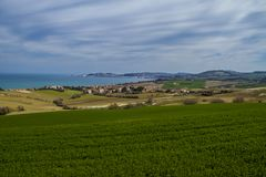 Ancona gulf, panoramic view from the countryside. Of Barcaglione zoo park Royalty Free Stock Images