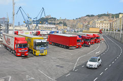 Ancona harbor heavy cargo. Working day in Ancona harbor on the East side of Italy at Adriatic sea stock photography