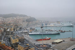 Ancona harbor, ITALY. The view of the harbor from the Ancona Cathedral. Nov. 2014 Royalty Free Stock Photography