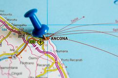 Ancona on map. Close up shot of Ancona on map with blue push pin Stock Images