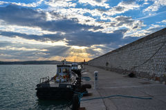 Ancona, marche, italy  port sunset Stock Photos