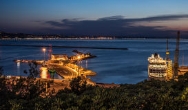 Ancona old harbour at night Stock Photography