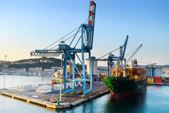 Ancona port. Industrial commercial port in the morning. Ancona, Italy Stock Image