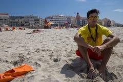 Ancora海滩的救生员  免版税图库摄影