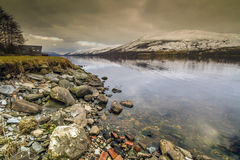 Ancora acqua a Lochernhead in Scozia fotografia stock