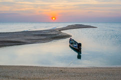 Ancora a coda lunga della colata della barca Fotografia Stock