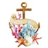 Ancora con i coralli illustrazione di stock