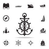 ancora con l'icona del volante Insieme dettagliato delle icone della nave Progettazione grafica premio Una delle icone della racc royalty illustrazione gratis