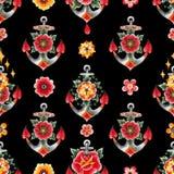 Ancora dell'acquerello con le decorazioni floreali Fotografia Stock