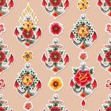 Ancora dell'acquerello con le decorazioni floreali Fotografia Stock Libera da Diritti