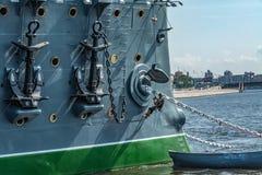 Ancora della nave di battaglia - aurora dell'incrociatore Fotografie Stock Libere da Diritti