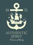 Ancora e una nave di navigazione del pirata illustrazione di stock