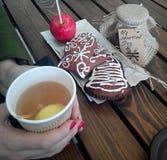 Ancora inceppamento del pan di zenzero del tè Fotografie Stock