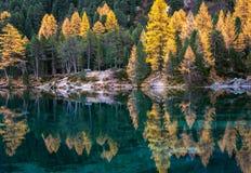 Ancora lago della montagna nella caduta con le riflessioni Fotografie Stock