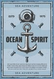 Ancora nautica e retro manifesto di vettore dell'autorespiratore royalty illustrazione gratis