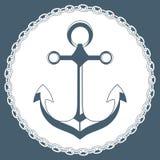 Ancora nel telaio con una catena Logo marino di concetto Fotografia Stock