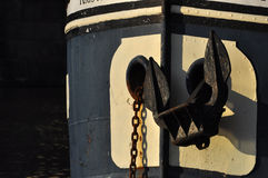 Ancora sul fiume della Moldava della barca, Praga Fotografia Stock Libera da Diritti
