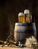 Ancora vita con birra Fotografie Stock