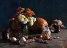 Ancora vita con i crisantemi e la zucca Immagini Stock Libere da Diritti