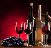 Ancora vita con le bottiglie di vino Fotografia Stock Libera da Diritti