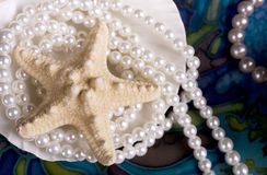 Ancora-vita con una stella marina e le perle Fotografia Stock Libera da Diritti