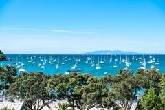 Ancoragem aglomerada ocupada com muitos barcos na baía da praia de Oneroa, Waih Fotos de Stock Royalty Free