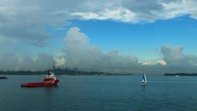 Ancoragem de Singapura Fotos de Stock Royalty Free