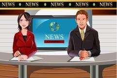 Ancoraggi di notizie della TV Immagini Stock