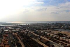 Ancoraggi e terminali del carico nel porto di Dudinka fotografie stock libere da diritti