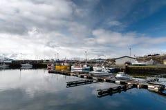 Ancoraggio in Islanda Città di Husavik fotografia stock