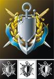 Ancoraggio, pugnali di marinaio, distintivo e nastro Fotografia Stock Libera da Diritti