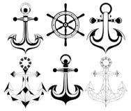 Ancore della siluetta e whell della nave Immagini Stock Libere da Diritti